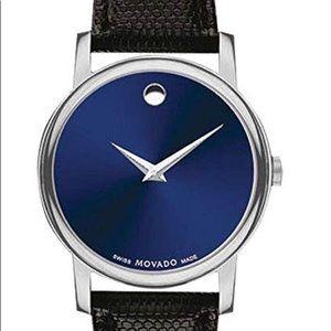Movado Watch - Museum Blue Dial Black Strap